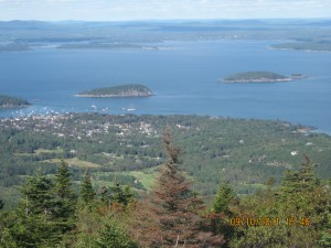 View 1 of Bar Harbor, Maine from summit of Cadillac Mountain
